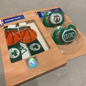 Boston Celtics pacifier and clips
